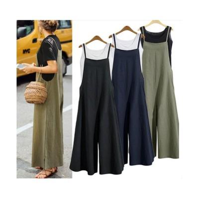 全3色 サロペット オールインワン ワイドパンツ ガウチョパンツ ガウチョ ワンピース ロング丈 キャミ スカート ゆったり  体型カバー リネン