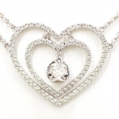 K18 18金 WG ホワイトゴールド ネックレス ダイヤ 0.406 0.06 鑑定書 総重量約9.3g 中古ジュエリー