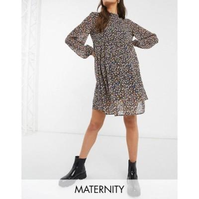 ピーシーズ Pieces Maternity レディース ワンピース ミニ丈 ワンピース・ドレス Mini Smock Dress With Volume Sheer Sleeve In Ditsy Floral マルチカラー