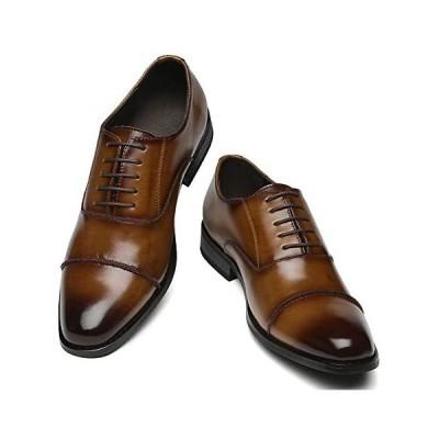 KITO ビジネスシューズ メンズ フォマール 革靴 通勤 通学 本革 紳士靴 カジュアル 父の日 (ブラウン 27.0 cm 3E)
