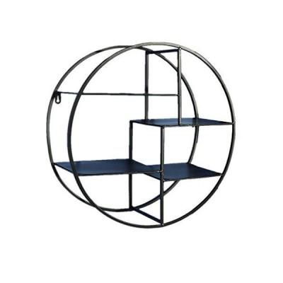 ウォールシェルフ、鍛造ラウンド金属鉄ペンダント装飾多機能ラックポーチ用リビングスペース、寝室、バスル