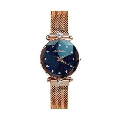 レディース 腕時計 星空フェイス ひし形デザイン ウォッチ 防水 アクセサリー 贈り物 かわいい おしゃれ 女性 ファッション時計 ピンクゴ