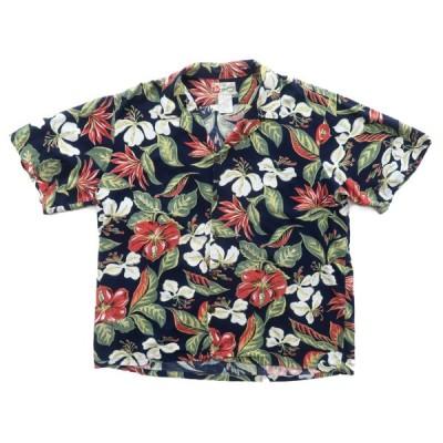 ハワイ製 開襟 アロハシャツ ネイビー サイズ表記:XL