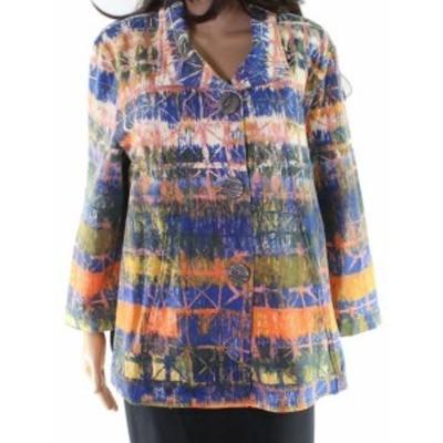 ファッション 衣類 Multiples NEW Blue Womens Size XL Abstract Print Button Down Jacket