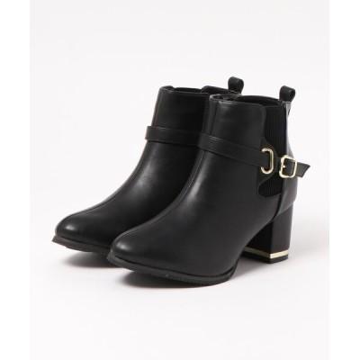 Mafmof / Realta(レアルタ) サイドゴアベルト付き飾りヒールショートブーツ WOMEN シューズ > ブーツ