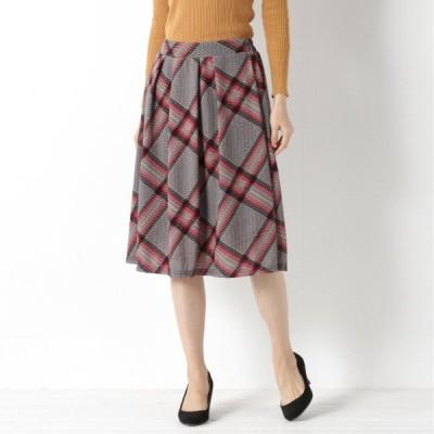 自宅で洗えてシワになりにくい◎無地・柄選べる起毛スカート レッド S M L LL