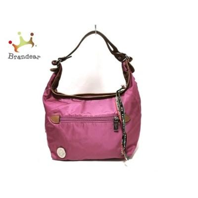 オロビアンコ OROBIANCO ハンドバッグ - ピンク×ライトブラウン ナイロン×レザー   スペシャル特価 20210115