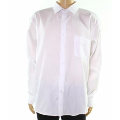 Alfani  ファッション ドレス Alfani NEW White Mens Size 15 1/2 Striped Regular Fit Dress Shirt