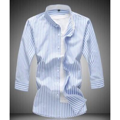 爆品 メンズ ストライプ柄 シャツ 7分袖 カジュアル シャツ 細身 春夏秋対応! メンズファッション 3色【M~7XL】