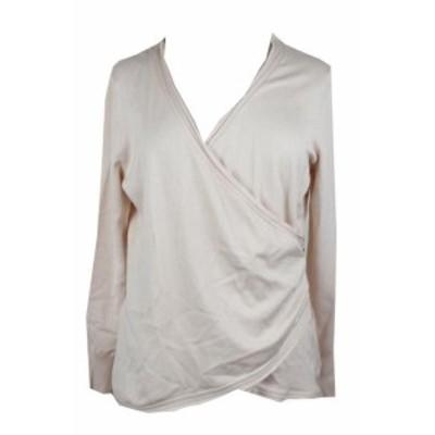 Pale  ファッション トップス Thalia Sodi Pale Pink Zipper-Trim Faux-Wrap Sweater XL