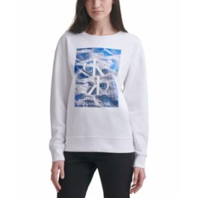 カルバンクライン レディース シャツ トップス Reflecting Pool Logo Sweatshirt White