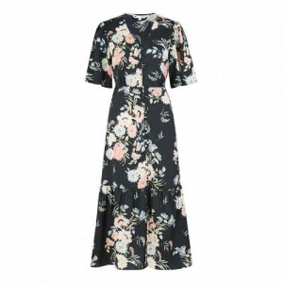 ユミ Yumi レディース ワンピース ワンピース・ドレス Black Japanese Floral Button Through Mid Black