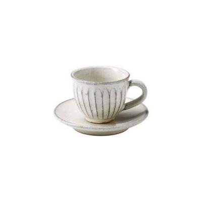 丸伊製陶 信楽焼 へちもん カップ&ソーサー 白釉彫 丸