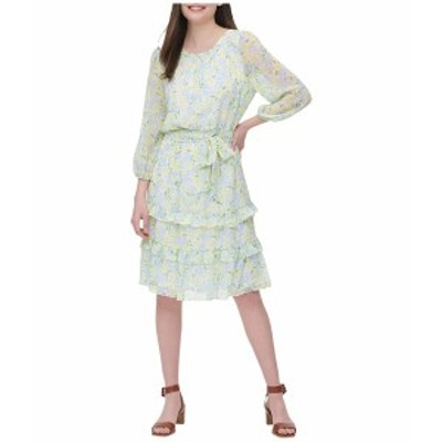 カルバンクライン レディース ワンピース トップス Printed Long Sleeve Belted Dress Cashmere White