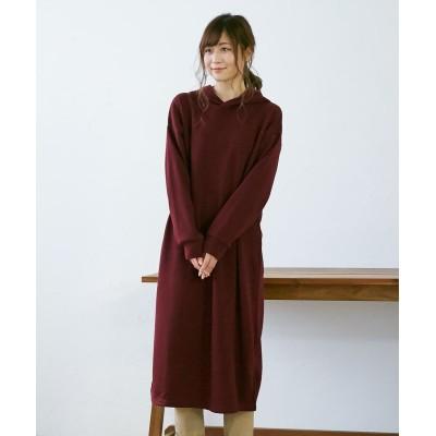 【裏起毛】シンプルパーカワンピース (ワンピース)Dress