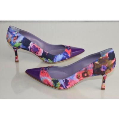 ハイヒール マノロブラニク MANOLO BLAHNIK BB Pumps Floral Pink Blue Purple Heels Patent Shoes 37.5 40.5