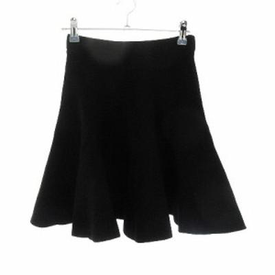 【中古】ルシェルブルー LE CIEL BLEU スカート フレア ミニ 無地 F 黒 ブラック /CK レディース
