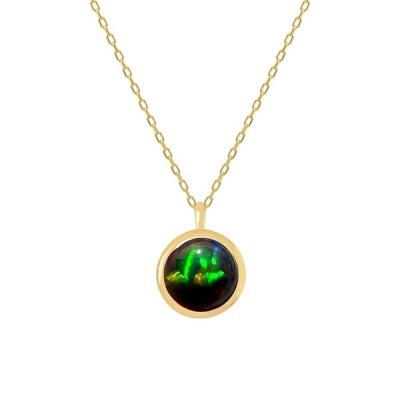ブラックオパール ネックレス K18イエローゴールド 10月誕生石 1カラットサイズ フクリン カボション プレゼント クレサンベール 京セラ