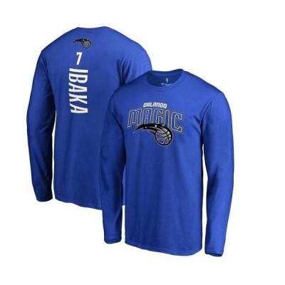メンズ スポーツリーグ バスケットボール Men's Fanatics Branded Serge Ibaka Blue Orlando Magic Backer Name & Number Long Sleeve T-Shi
