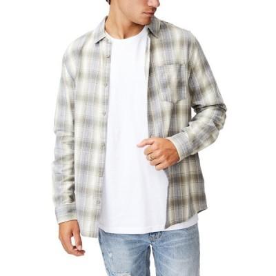 コットンオン メンズ シャツ トップス Washed Long Sleeve Check Shirt ECRU DESERT CHECK