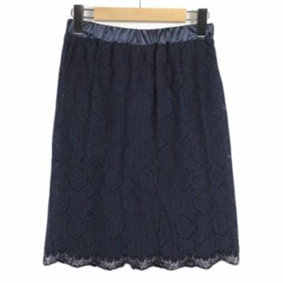 【中古】スタイルノート Style Note スカート レース 刺繍 スリット S 紺 ネイビー レディース