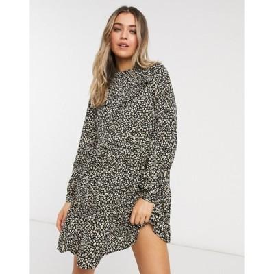 ニュールック レディース ワンピース トップス New Look ruffle detail smock mini dress in leopard floral