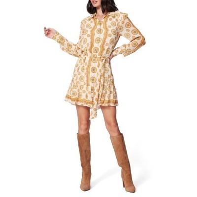 ペイジ ワンピース トップス レディース Portofino Floral Long Sleeve Silk Shirtdress Birch/ Turmeric
