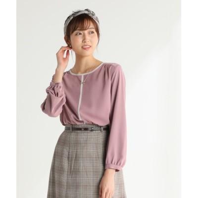(Honeys/ハニーズ)アクセ付配色ブラウス/レディース ピンク
