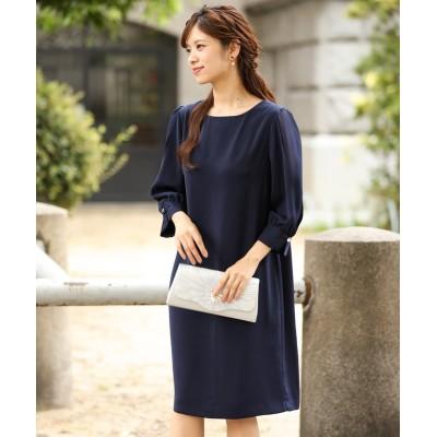 袖シフォン使いワンピースドレス (ワンピース)Dress