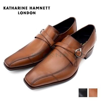 KATHARINE HAMNETT キャサリン ハムネット メンズシューズ ビジネス レザー ロングノーズ ベルト ブラック ブラウン 黒 茶色 31591+