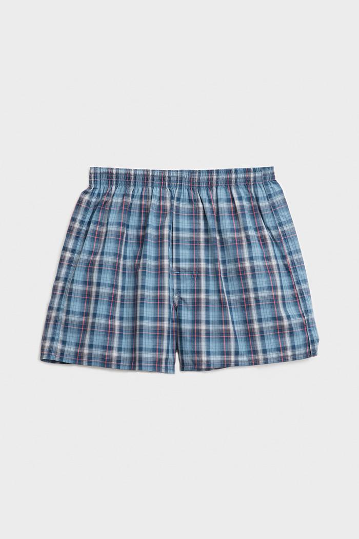 (男款)專職格紋.平織純棉四角內褲(白/海綠/灰藍/紅格)
