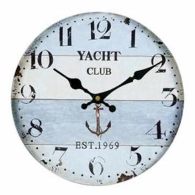 壁掛け 時計 ウォール クロック レトロ アンティーク 西海岸 北欧風 マリン 大理石 ウッド カラフル 木製 直径3tno-a66(1-2日発送)