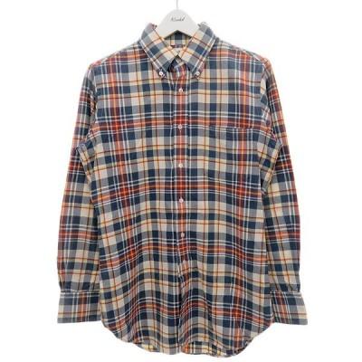 BLACK FLEECE (BROOKS BROTHERS) チェック柄ボタンダウンシャツ グレー×レッド サイズ:BB0 (明石店) 210318