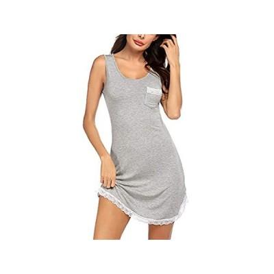 Ekouaer Women's Nightgown Lace Trim Nightwear Sleepshirt Loose Fit Sleevele 好評販売中