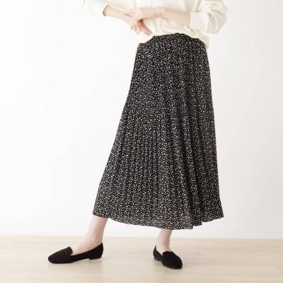 シューラルー SHOO-LA-RUE ヒョウ柄消しプリーツスカート (ブラック)