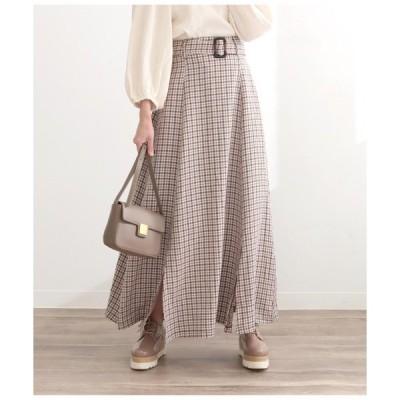 スカート ベルト付きチェック柄ロングスカート