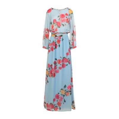 BIANCOGHIACCIO ロングワンピース&ドレス スカイブルー 40 ポリエステル 100% ロングワンピース&ドレス