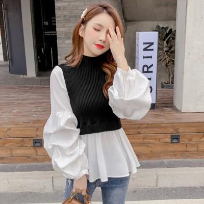 クラシカルフレア袖切替えニットウェア ブラック ニット セーター トップス 韓国ファッション 中国ファッション インポート 海外 セレクト カジュアル