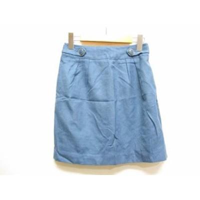 【中古】ロペピクニック ROPE Picnic セミタイト スカート 38 ブルー ひざ丈 バックゴム 裏地付き レディース