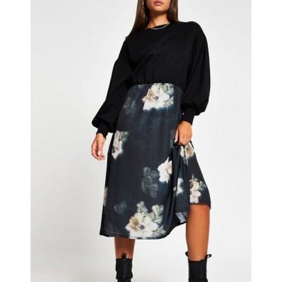 リバーアイランド レディース ワンピース トップス River Island floral midi dress with sweater overlay in black