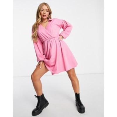 エイソス レディース ワンピース トップス ASOS DESIGN mini wrap shirt dress in bubblegum pink Pink