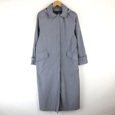 FLEET STREET rainwear ステンカラーコート made in BELARUS ピーチ起毛 着脱フード ヴィンテージ ブルー系 レディースL n015989