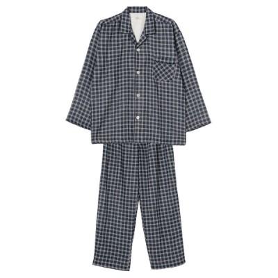 セブンプレミアムライフスタイル メンズ 紳士 <肌にやさしい綿100%>先染めガーゼ シャツパジャマ ブルー 3L