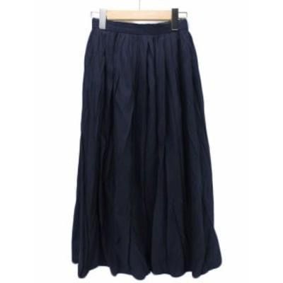 【中古】テチチ Te chichi スカート ロング フレア ギャザー S 紺 レディース
