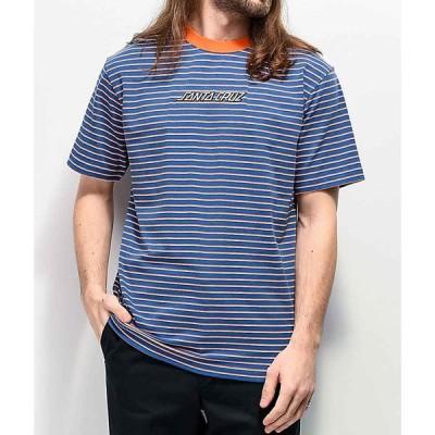 サンタクルーズ SANTA CRUZ SKATE メンズ Tシャツ トップス Santa Cruz Embroidered Blue & Orange Stripe Knit T-Shirt Blue