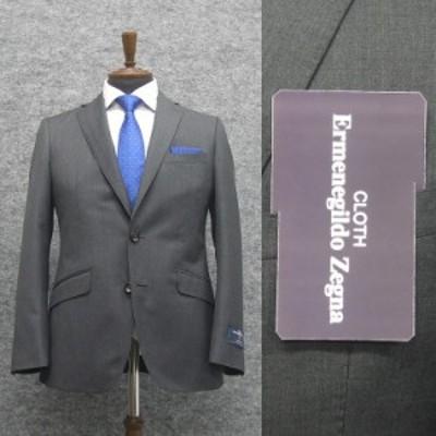 春夏物 霜降りグレー無地 [Ermenegildo Zegna] ゼニア TROPICAL使用 スタイリッシュ2釦スーツ [YA体][A体] EZS81 ロゴ入り裏地