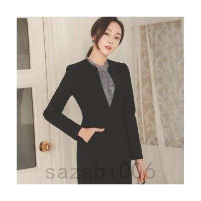 ジャケット レディース 秋 40代 50代 フォーマル ファッション 女性 上品 黒 グレー ロングジャケット 無地