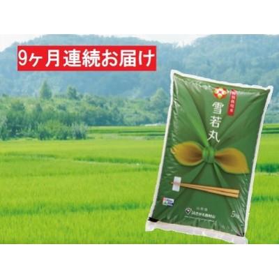 【9ヶ月】特A・一等米 特別栽培米 雪若丸5kg(精米) 山形県西村山産