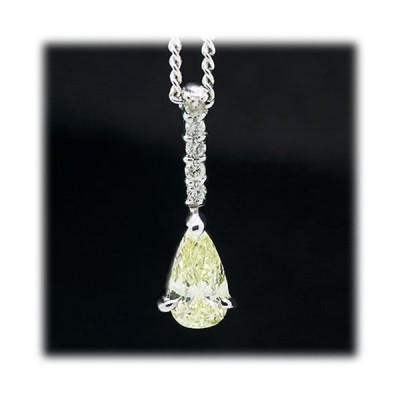 ダイヤモンド ネックレス ペンダント 0.4ct K18WG ライトイエロー 4月 誕生石 天然石