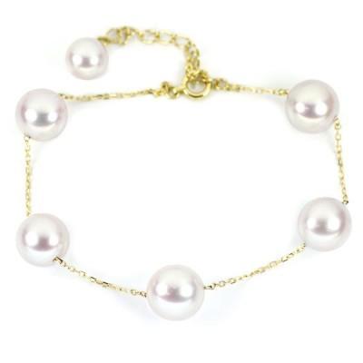 新品 K18YG アコヤ真珠 ブレスレット 径約6.8-8.8mm ジュエリーNJ Piercingbracelet あこや真珠ブレスレット